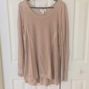 Shrinking Violet pale rose sweater